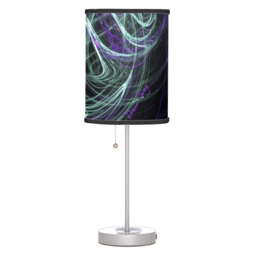 Light Within, Abstract Fractal Violet Indigo Swirl Table Lamp