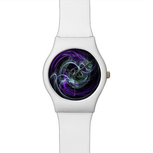 Light Within, Abstract Fractal Violet Indigo Swirl Watch