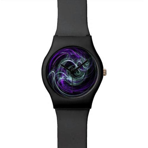 Light Within, Abstract Fractal Violet Indigo Swirl Wrist Watch