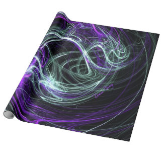 Light Within, Abstract Violet Indigo Cream Swirls Gift Wrapping Paper