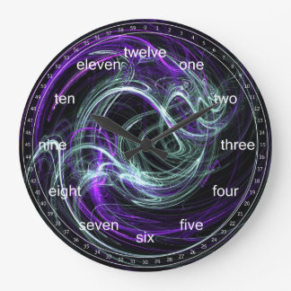 Light Within - Abstract Violet & Indigo Swirls Large Clock
