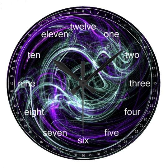 Light Within - Abstract Violet & Indigo Swirls Large Clock