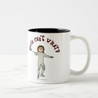 Light Woman Fencing Two-Tone Coffee Mug