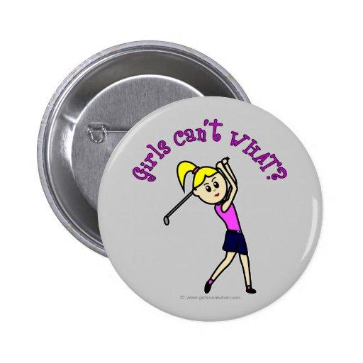 Light Woman Golfer 2 Inch Round Button