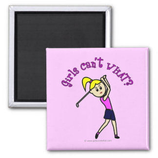 Light Woman Golfer 2 Inch Square Magnet