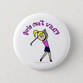 Light Woman Golfer Pinback Button