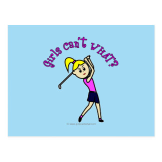 Light Woman Golfer Postcard