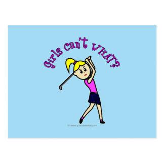 Light Woman Golfer Postcard