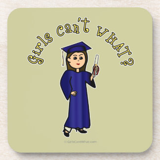 Light Woman Graduate in Blue Gown Beverage Coaster