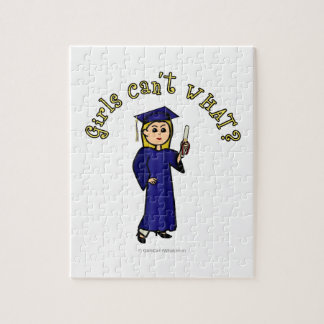 Light Woman Graduate in Blue Gown Jigsaw Puzzle