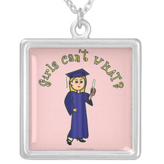 Light Woman Graduate in Blue Gown Square Pendant Necklace