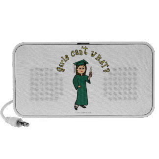 Light Woman Graduate in Green Gown Portable Speakers