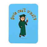 Light Woman Graduate in Green Gown Vinyl Magnets