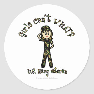 Light Woman Navy Veteran Classic Round Sticker