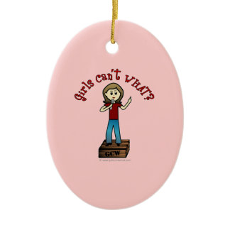 Light Woman on Soapbox Double-Sided Oval Ceramic Christmas Ornament