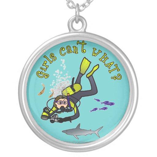 Light Woman Scuba Diver Custom Necklace