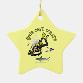 Light Woman Scuba Diver Double-Sided Star Ceramic Christmas Ornament