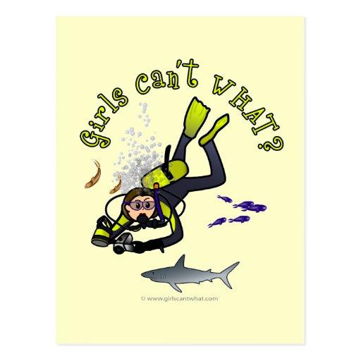 Light Woman Scuba Diver Postcard