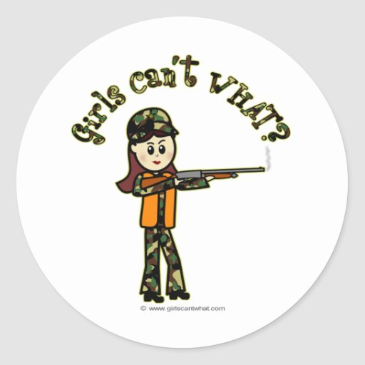 Light Womans Hunting Classic Round Sticker