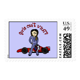 Light Womens Auto Racing Postage Stamps