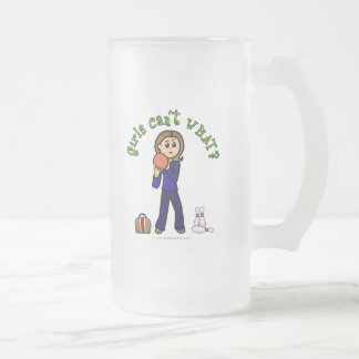 Light Womens Bowling Frosted Glass Beer Mug