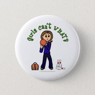 Light Womens Bowling Pinback Button