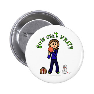 Light Womens Bowling Pinback Button