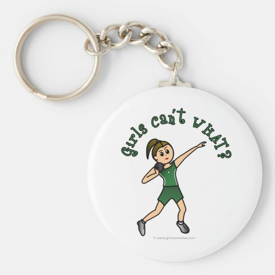 Light Womens Shot Put in Green Uniform Keychain