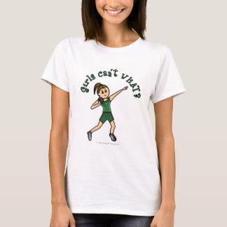 Light Womens Shot Put in Green Uniform T-Shirt