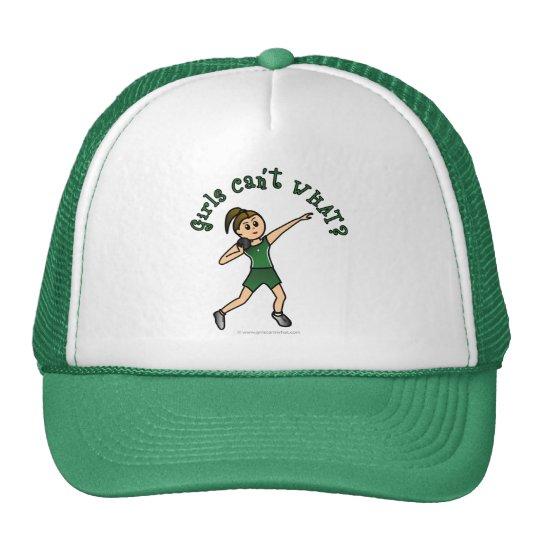 Light Womens Shot Put in Green Uniform Trucker Hat