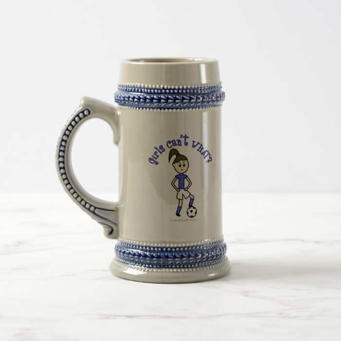 Light Womens Soccer in Blue Uniform Beer Stein