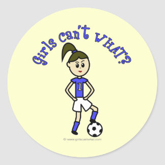 Light Womens Soccer in Blue Uniform Classic Round Sticker