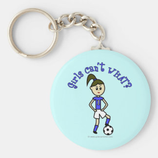 Light Womens Soccer in Blue Uniform Key Chains