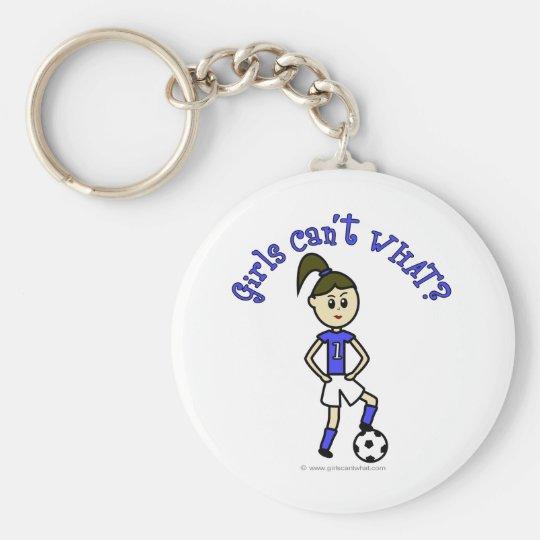 Light Womens Soccer in Blue Uniform Keychain