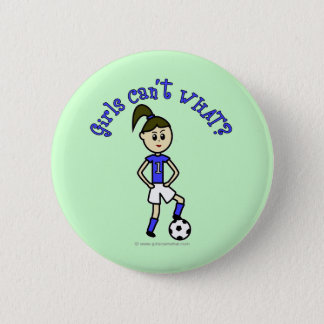 Light Womens Soccer in Blue Uniform Pinback Button