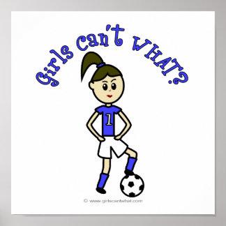 Light Womens Soccer in Blue Uniform Poster