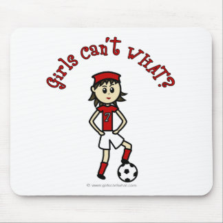 Light Womens Soccer in Red Uniform Mouse Pad
