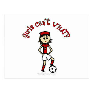 Light Womens Soccer in Red Uniform Postcard