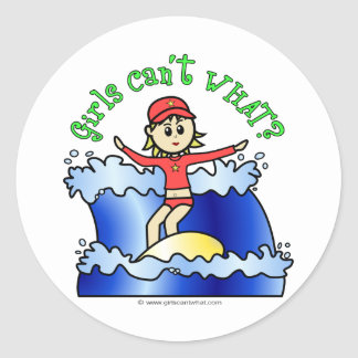Light Womens Surfing Classic Round Sticker
