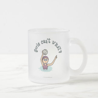 Light Womens Water Polo PLayer Frosted Glass Coffee Mug