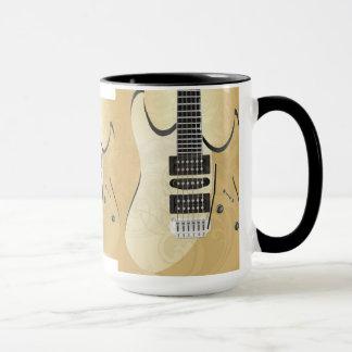 Light Wood Look Guitar Illustration-Monogram Mug