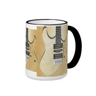 Light Wood Look Guitar Illustration-Monogram Mugs