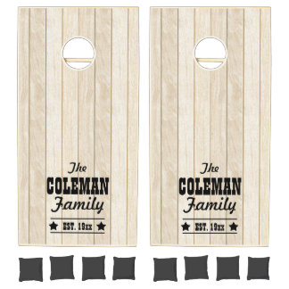 Light Wood-look Personalized Cornhole Set