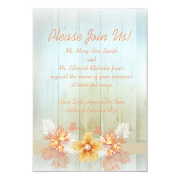 Beach Themed Light Wood Wedding Card