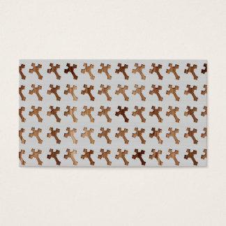 Light Wooden Crosses on White Background Business Card