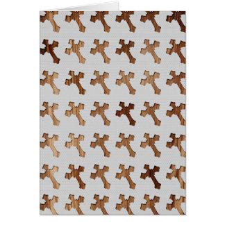 Light Wooden Crosses on White Background Card