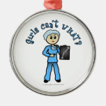 Light X-ray Technologist Girl Round Metal Christmas Ornament