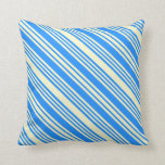[ Thumbnail: Light Yellow and Blue Colored Pattern Throw Pillow ]