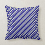 [ Thumbnail: Light Yellow and Blue Pattern of Stripes Pillow ]