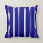 [ Thumbnail: Light Yellow and Dark Blue Colored Stripes Pillow ]